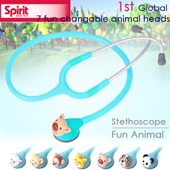 Free Shipping high quality 3D Animated 7 fun Animal changable single head kids child children made in Taiwan Spirit Stethoscope