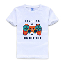 Big Brother O-Neck  Short  Shirt  Leveling Up To   Toddler and Youth Crewneck Tee Heather Grey Kids Christmas