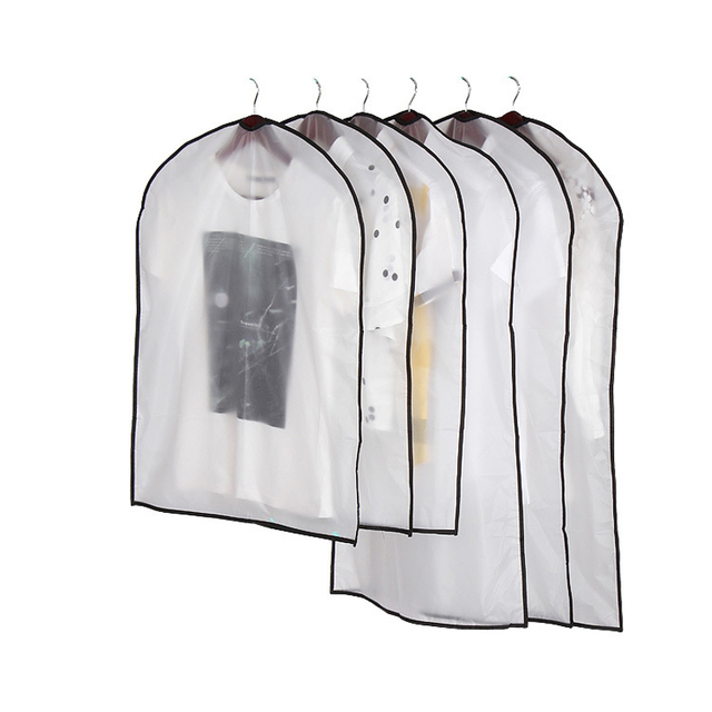 WCIC Waterproof Clothes Dust Cover Storage Bag Wardrobe Clothes Organizer Suit Coat Protector Household Clothing Garment Bags