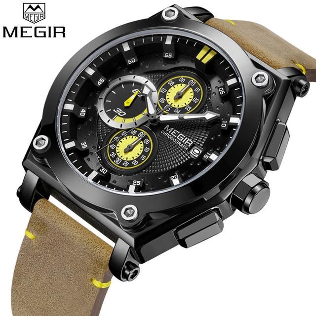 014b0f4b406 Relogio Masculino MEGIR Men Watch Top Brand Luxury Gold Chronograph  Wristwatch Date Military Sport Leather Strap