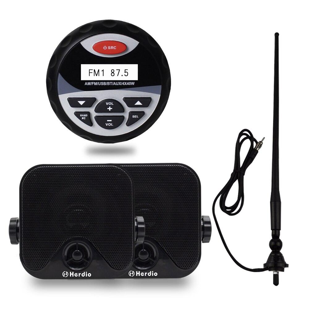Waterproof Bluetooth Radio Stero Player Boat Audio Sound System FM AM Receiver 4 Inch Marine Speakers