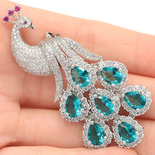Beautiful Rich Blue Aquamarine Ladies Woman's Wedding 925 Gold Silver Earrings 15x11mm
