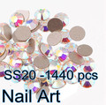 1440 pcs SS20 Cristal AB Nail Art Strass Com Super Brilhante Para DIY Nails Art Bolsas E Roupas