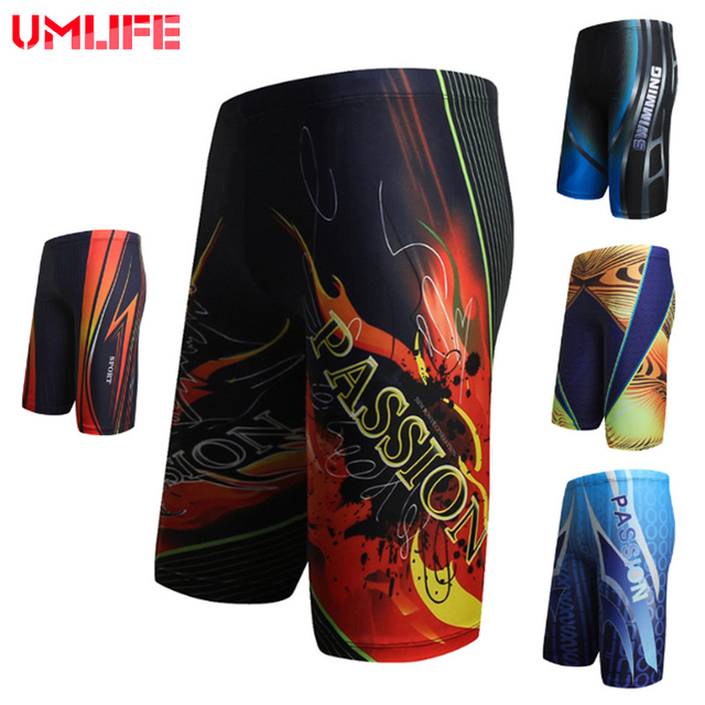 UMLIFE Men swim trunks waterproof quick-drying Beach Boxer Shorts Prints Breathable Swimming Wear Bathing Sport Briefs Boys