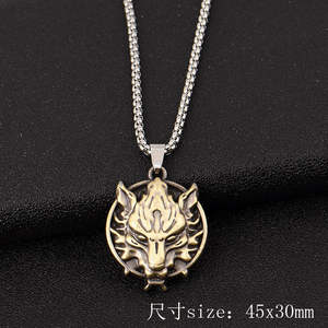 Animal Necklace Link-Chain Charm Tiger-Pendant Wolf Lion Stainless-Steel Gold Silver