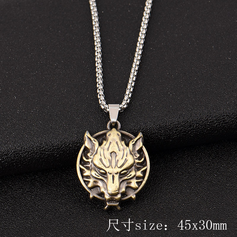 Royal Lion Silver Oval Necklace Eagle Lightning and Motorcycle
