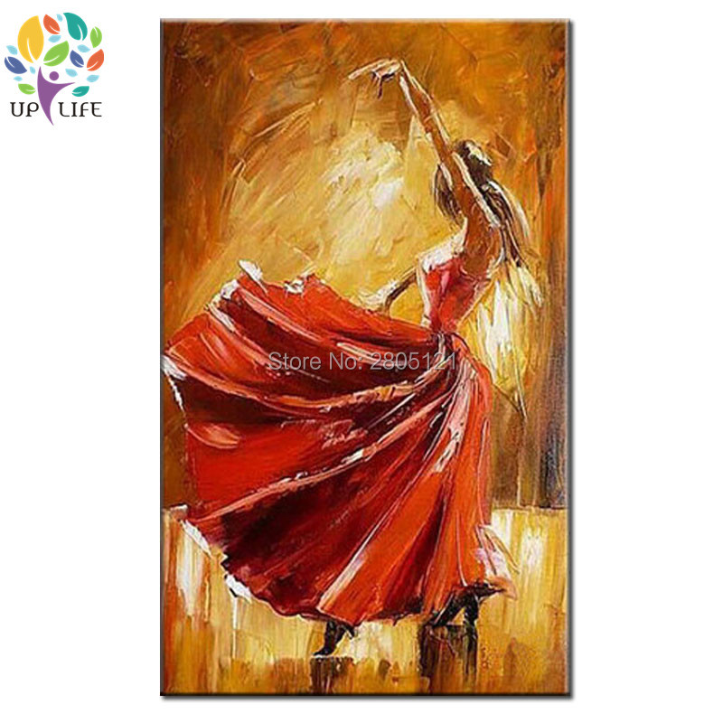 hand painted red dressing girl oil painting spanish Bullfighting girl in red skirt canvas wall picture abstract dancer paintings