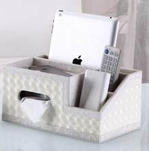 Multifunktions Wohnzimmer Desktop PU Leder Finishing Tissue Lagerung Box