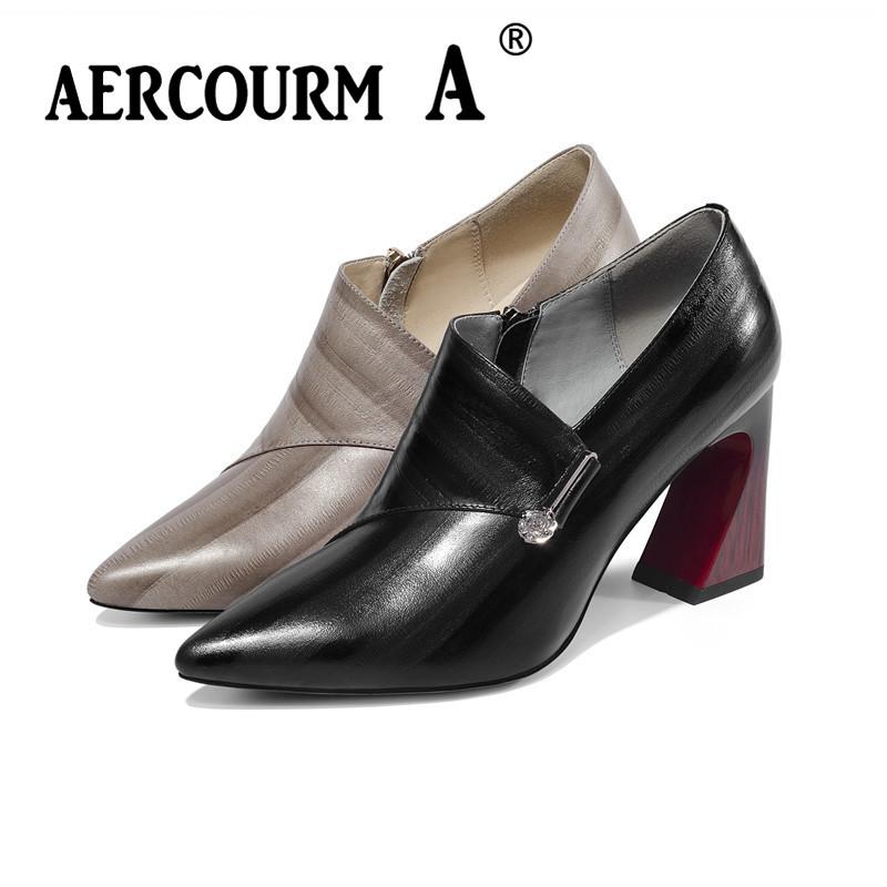 Aercourm A 2019 Women Spring Pumps Shoes Ladies Genuine Leather Shoes Square Heel Pumps New Khaki Brand Shoes Woman High HeelAercourm A 2019 Women Spring Pumps Shoes Ladies Genuine Leather Shoes Square Heel Pumps New Khaki Brand Shoes Woman High Heel