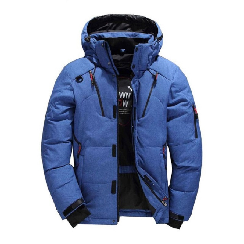 Fashion Brand thick casual down jacket black green blue orange 2018 winter warm white duck down men's hooded down jacket