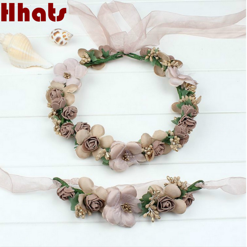 Champagne blue pink peach purple rose white beige red handmade flower headband crown garland handwrist sets for wedding festival