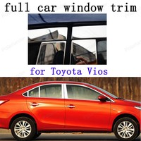 Car Exterior Accessories Decoration Strips Stainless Steel full Window Trim for Toyota Vios with column