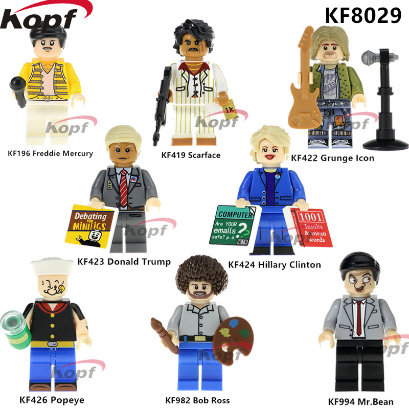 Single Sale Super Heroes Freddie Mercury Model Trump Hillary Clinton Popeye Grunge Icon Building Blocks Kids Gift Toys KF8029