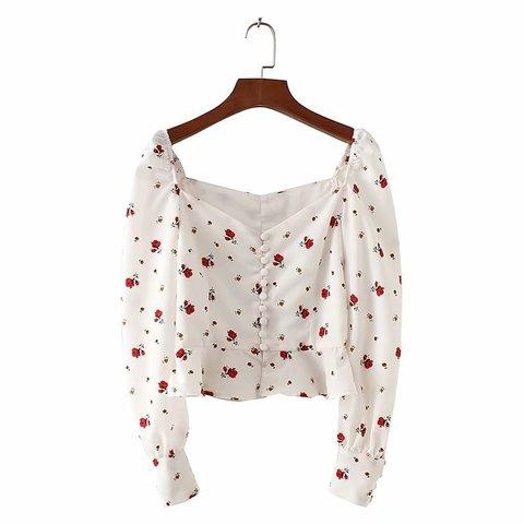 Women Blouses Shirts Vintage Printed buckled long-sleeved shirt ladies ruffled high waist short Streetwear Tops Blusas Mujer De Karachi