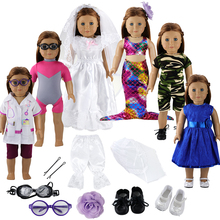 12 Items/lot Doll Accessories=6 x Clothes+6 Accessories Shoes For 18 Inch Baby Reborn America Girl Our Generation Clothes