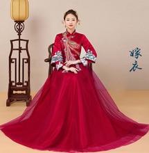 Oriental Bride's wedding dress Claret Long Sleeve Wedding Cheongsam Evening Dresses Chinese Style Embroidery Phoenix gown