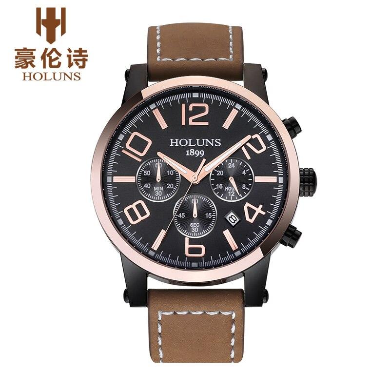 ФОТО HOLUNS TS104 Watch Geneva Brand Genuine multifunctional luminous watches men's watches Chronograph quartz relogio masculino