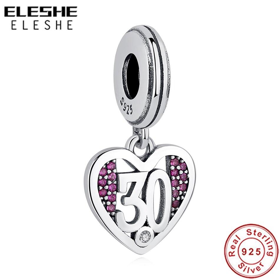 ELES Mesmos novo 925 Sterling silver 30 anos De Amor Pingente Charme ROSA Cz Coração Bead Fit Pandora Original Charm bracelet jóias DIY