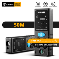 Original DEKO LRD110 medidor de distancia láser de mano 50M Digital de doble medida telémetro láser distancia/área/volumen/pitagórico