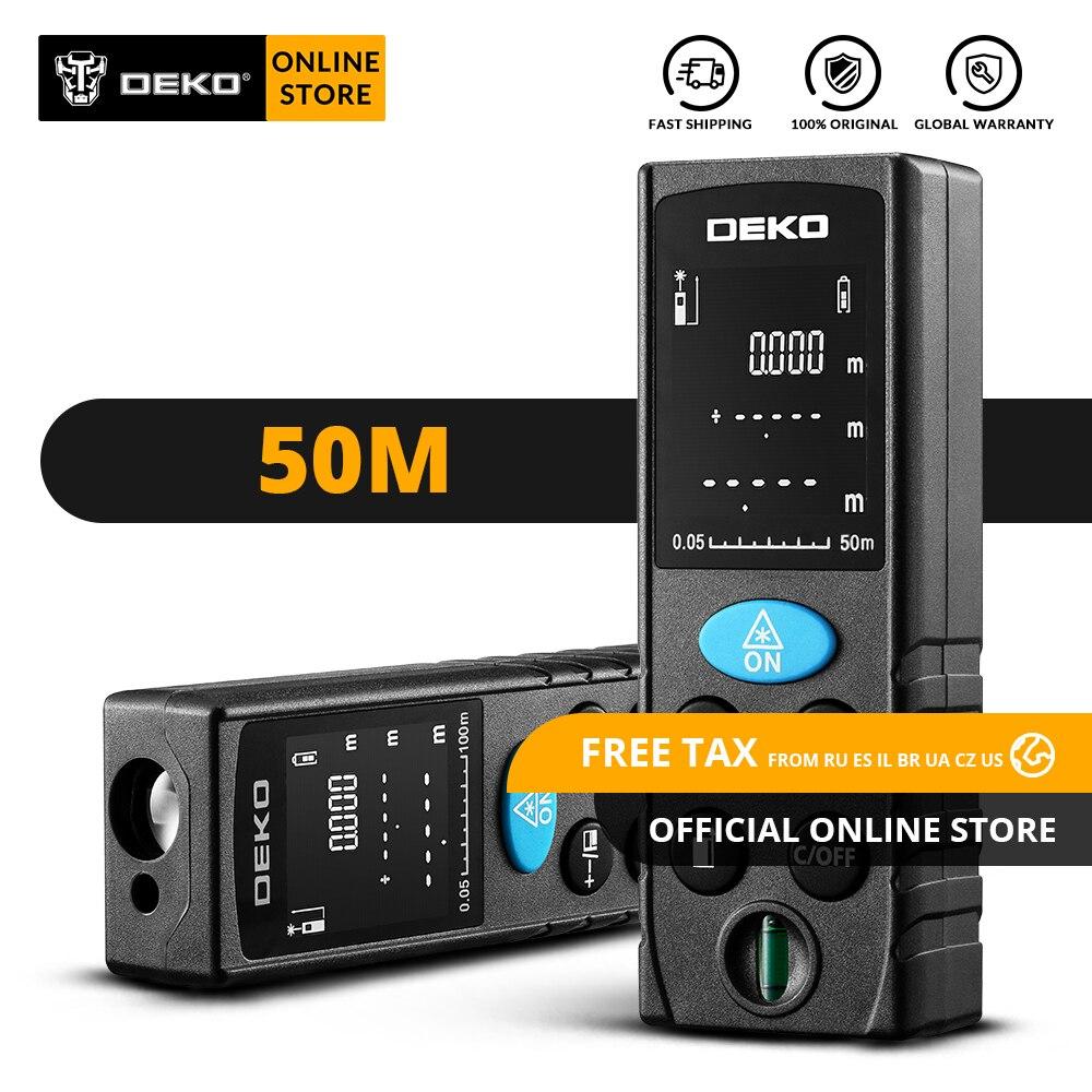 Original DEKO LRD110 Handheld Laser-distanzmessgerät 50M Digitale Dual Messen Laser-entfernungsmesser Abstand/Fläche/Volumen/ pythagorean