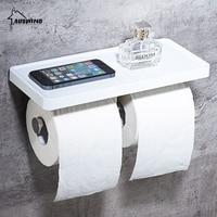 Modern Stil Gümüş Çift Cep Telefonu Standı ile Tuvalet Kağıt Havlu Raf Duvara Monte Raf Banyo Rulo Tutucu Tuvalet Sj2