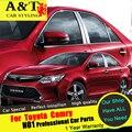 A & T para Toyota Camry ventana diseño de coches de ajuste 2015 2016 para Camry columna de acero inoxidable pegatinas especial del coche de la alta calidad