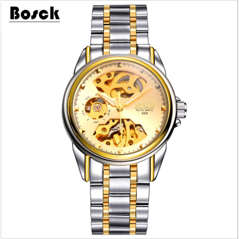 Bosck 688 Golden font b Watches b font Men Skeleton Mechanical font b Watch b font