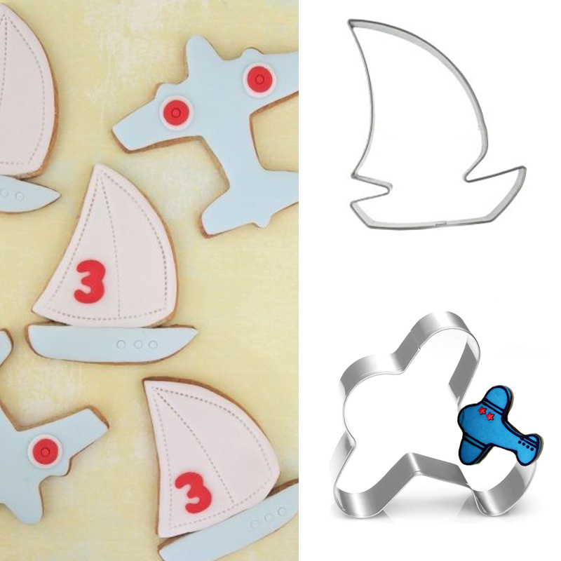 2pcs patisserie reposteria Plain Sailboat Stainless Steel Cookie Cutter Metal Molds Fondant Cake Decor Biscuit Mould Boy Party