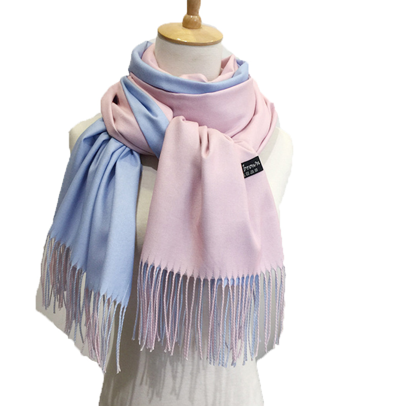 2018 new winter women   scarf   fashion solid double-side soft cashmere   scarves   shawl and   wraps   bandana female foulard Tassel