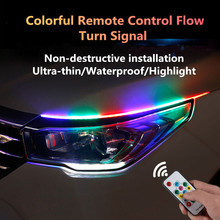 2pcs 60cm RGB DRL Slim Amber Sequential Flexible LED For Headlight Strip daytime running light with Remote control
