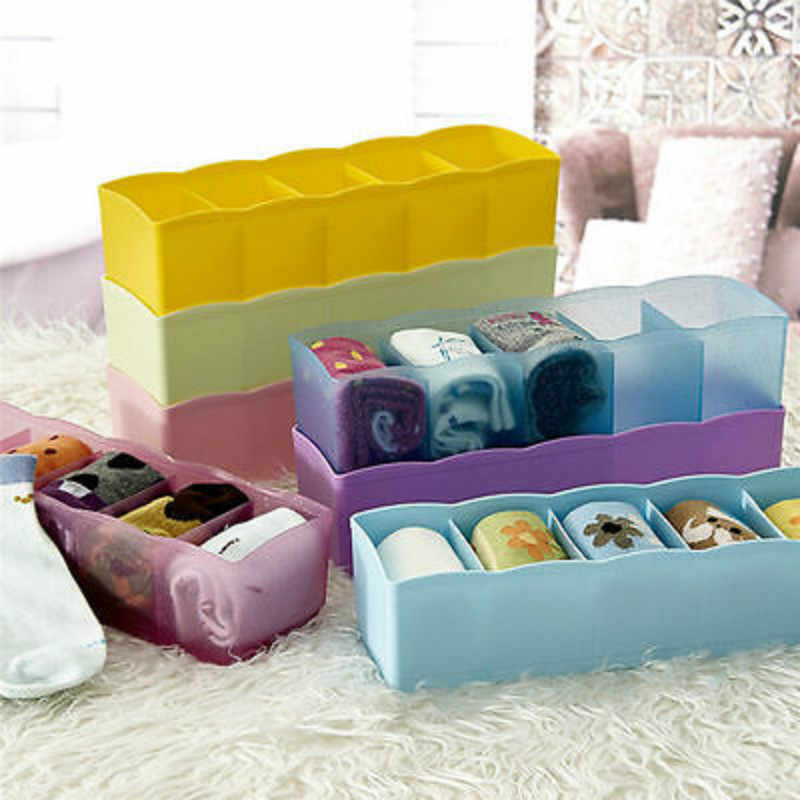5 Grids Plastic Clothes Organizer Storage Boxes Tie Bra Socks Drawer Cosmetic Divider Tidy Closet Storage Box Case Container