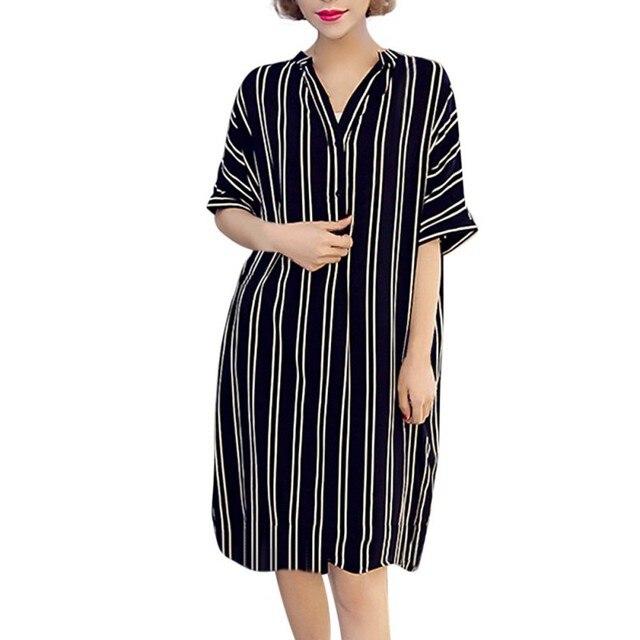 7f79679f4cb 2018 Newest Plus Size Loose Striped Dress Women V Neck Fashion Short Sleeve  Print Stripe Beach Cotton Dress