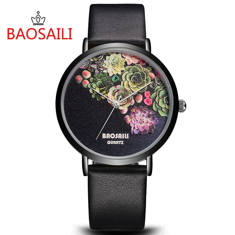 Top Brand BAOSAILI Women Luxury Leather Watch Quartz Ladies Elegant Watches Femalle Clock Colorful Flower Black Lady Wristwatch 2016 luxury wristwatch women quartz watch leather ladies watches black face