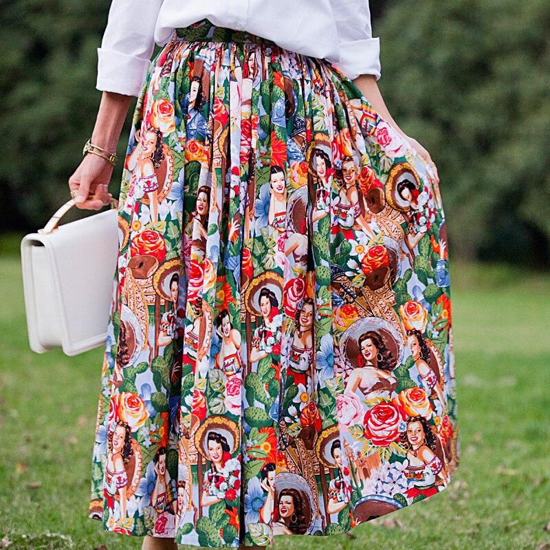 30- women vintage 50s pinup hawaii girl print swing long maxi skirt plus  size faldas rockabilly saia femininas 2be141b08834