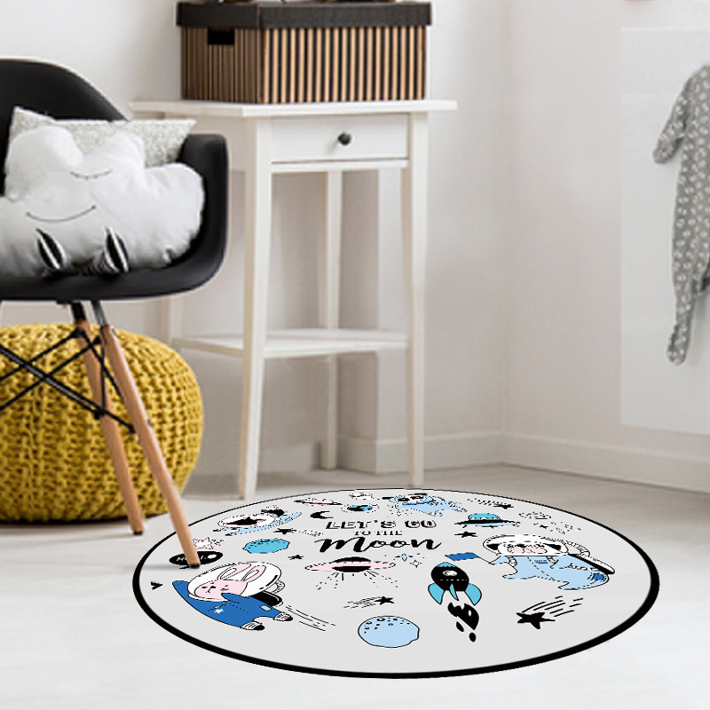 Fresh Round Rug Cartoon Carpet Universal Animals Round Carpet Computer Chair Floor Pad Floor Mat for Bedroom Kids Floor Pad