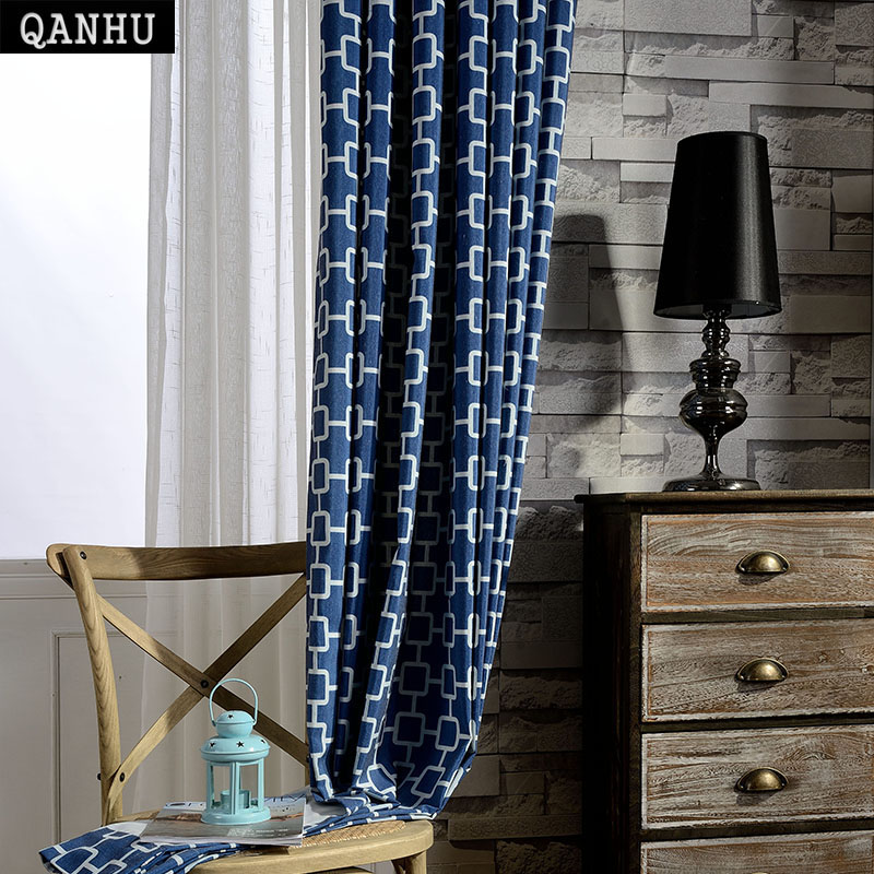 US $20.0 |QANHU Promotion New Classical Blue White Printed Blackout Curtain  Sets for Bedroom Window Tulle Curtain Free Shipping QH 9-in Curtains from  ...