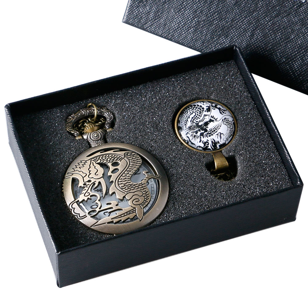 Retro Steampunk Bronze Chinese Dragon Hollow Quartz Pocket Watch With Glass Dome Necklace Pendant Chain/Sweater Chain Gift Box antique gear roma numbers glass dome quartz pocket watch steampunk fob clock with necklace chain men women gift free shipping