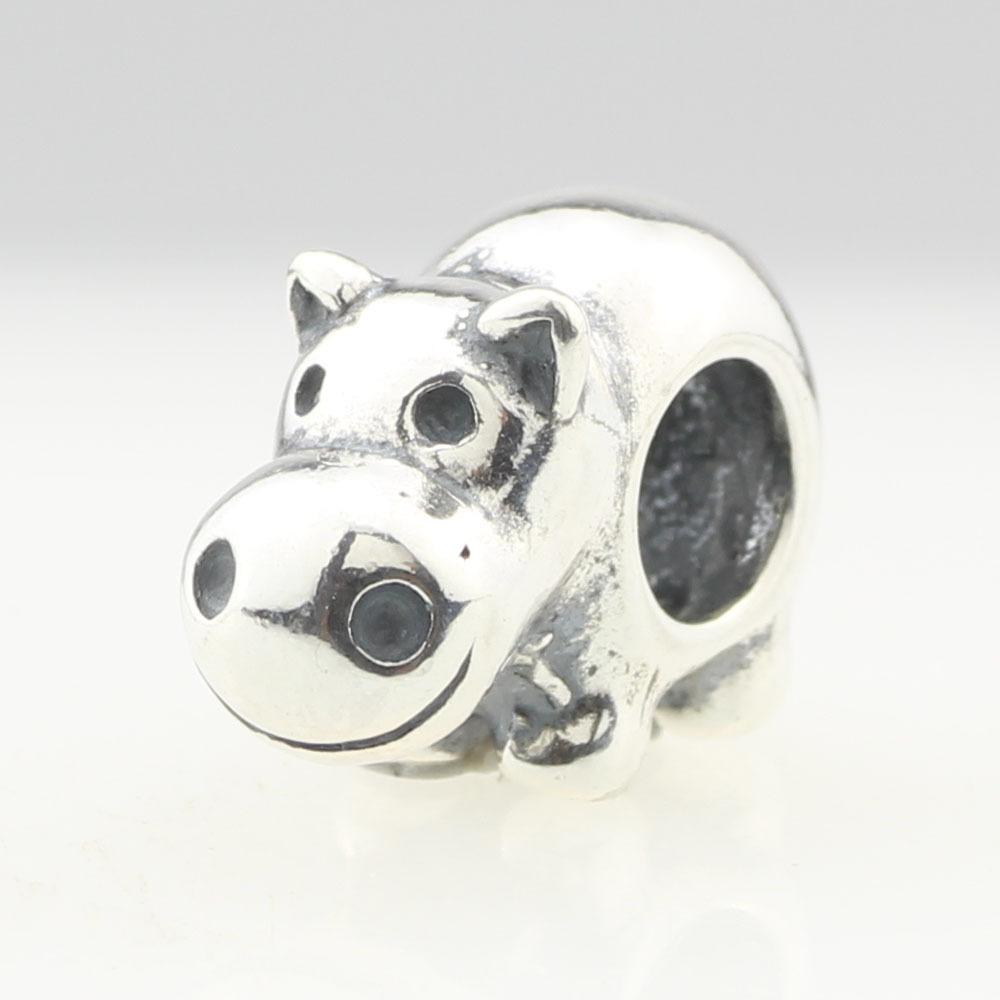 Antique 925 Sterling Silver Cute Hippo Bead For European Charm Bracelets
