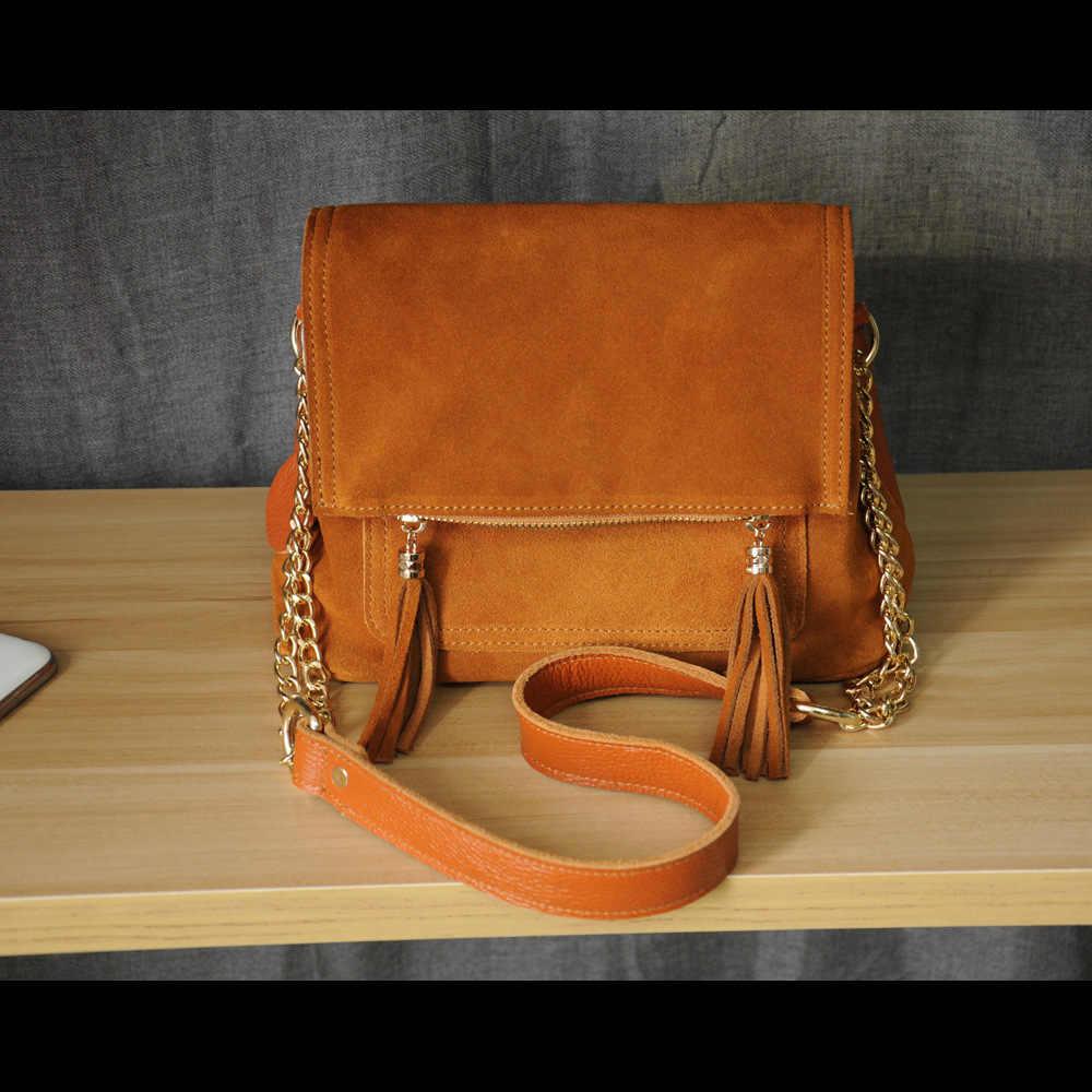 Из натуральной коровьей кожи с бахромой плеча Crossbody сумки Для женщин Мода цепи несколькими карманами небольшой лоскут сумки Для женщин Сумки