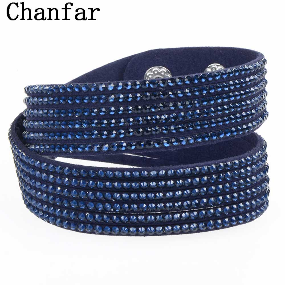 Fashion Wrap velvet bracelet leather bracelet with crystal couple jewelry