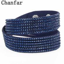 Fashion Wrap velvet bracelet leather crystal bracelet with snap button clasp crystal Bangle couple jewelry