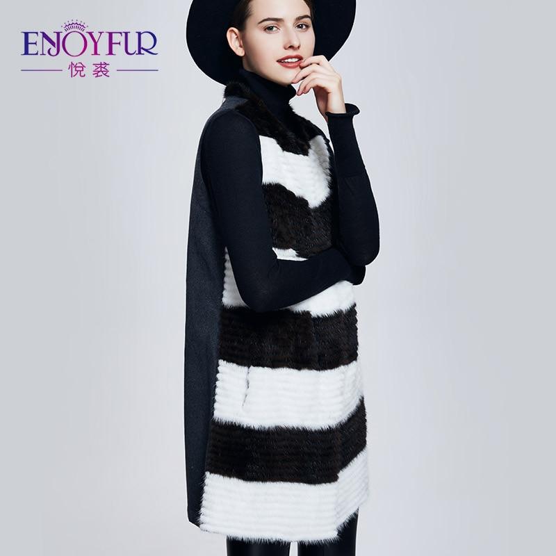 L'hiver Femmes Avec Véritable Qualité Pour Fourrure Manteaux Cachemire Vison Enjoyfur Gilet D612d636 Réel Bonne De xwvnqfIAB