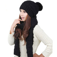 Women Beanies Scarf Warm Autumn Winter Puffer Ball Knitted Hat Female Solid Casual Fitness Skinny Soft