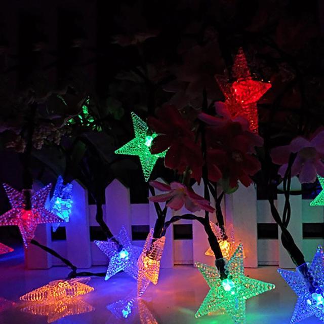 20LED Solar Star Light String Waterproof Colorful Lanterns Christmas Day Garden  Outdoor Decorative Lights
