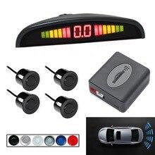 1 set 범용 자동차 주차 센서 led 디스플레이 자동 주차 레이더 4 pcs 22mm 센서 역방향 감지 시스템