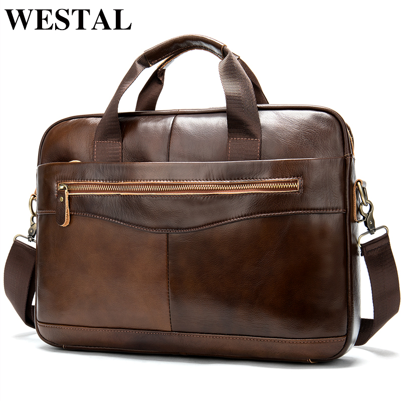 WESTAL Genuine Leather Messenger Bag Men Shoulder Bag Casual Male briefcases laptop Men's computer bussiness totes for Men 1118