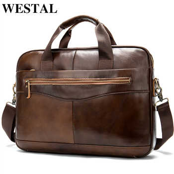 WESTAL Genuine Leather Messenger Bag Men Shoulder Bag Casual Male briefcases laptop Men's computer bussiness totes for Men 1118 - DISCOUNT ITEM  50% OFF All Category