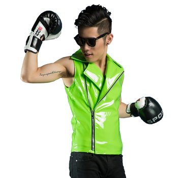 New Fashion Male Personality  Green slim Vest Costumes Nightclub singer Mens dj paillette outerwear Show stage wear