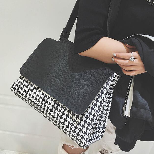 Fashion new Handbags Quality PU leather Women bag Houndstooth Simple Large capacity shoulder Female bag Portable Lady Tote Bag