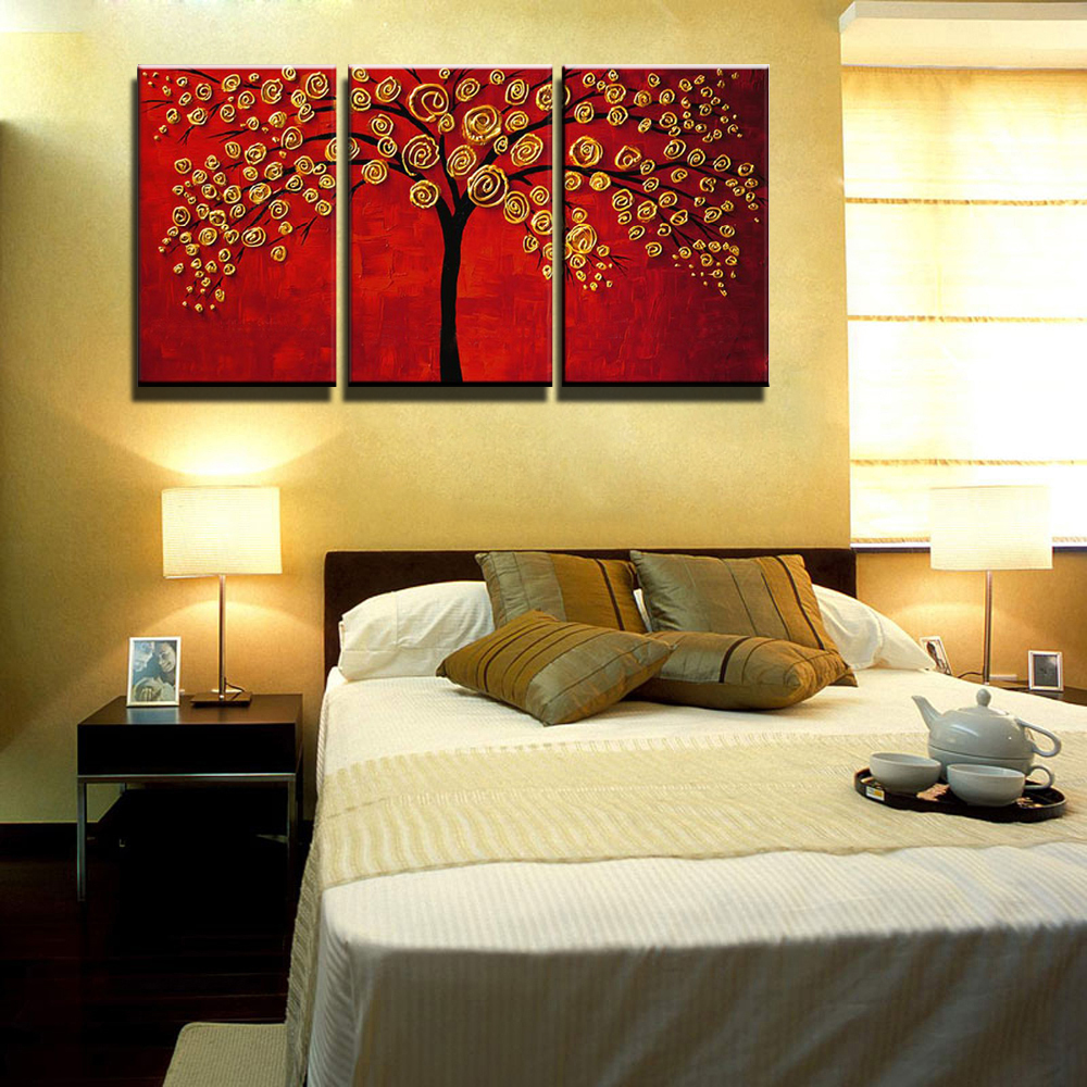 3 paiece canvas wall art Modern abstract painting crylic red tree ...